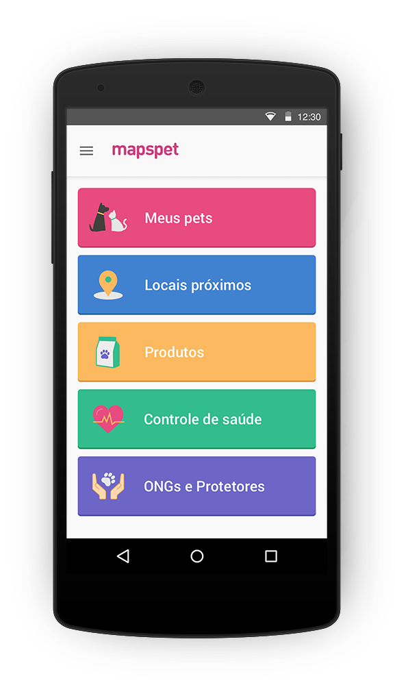 Aplicativo Mapspet - Menu